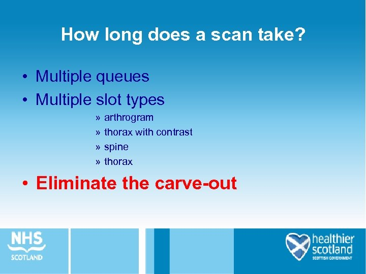 How long does a scan take? • Multiple queues • Multiple slot types »