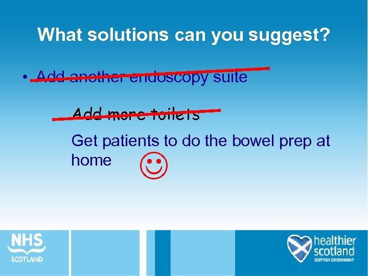 What solutions can you suggest? • Add another endoscopy suite Add more toilets Get