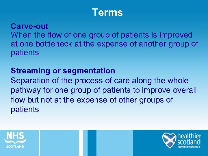 Terms Carve-out When the flow of one group of patients is improved at one