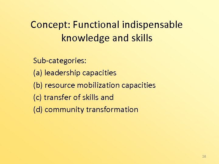 Concept: Functional indispensable knowledge and skills Sub-categories: (a) leadership capacities (b) resource mobilization capacities