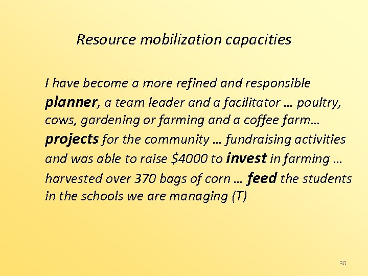 Resource mobilization capacities I have become a more refined and responsible planner, a team