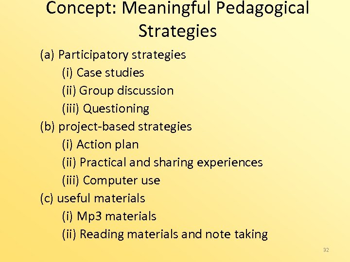 Concept: Meaningful Pedagogical Strategies (a) Participatory strategies (i) Case studies (ii) Group discussion (iii)