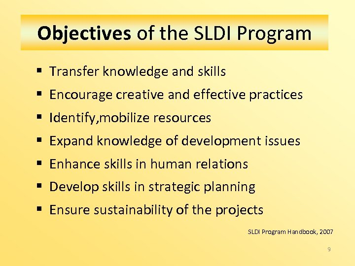 Objectives of the SLDI Program § Transfer knowledge and skills § Encourage creative and