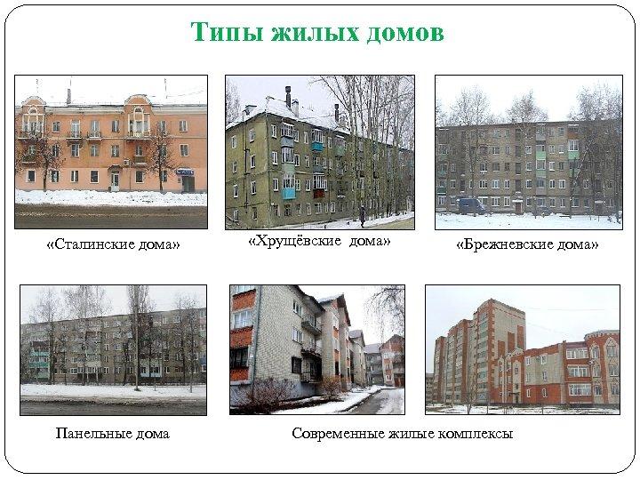 Типы жилых домов «Сталинские дома» Панельные дома «Хрущёвские дома» «Брежневские дома» Современные жилые комплексы