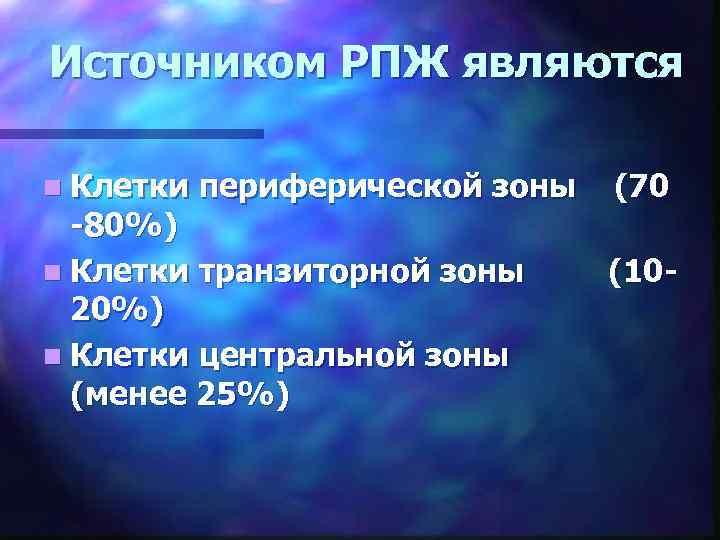 Источником РПЖ являются n Клетки периферической зоны -80%) n Клетки транзиторной зоны 20%) n