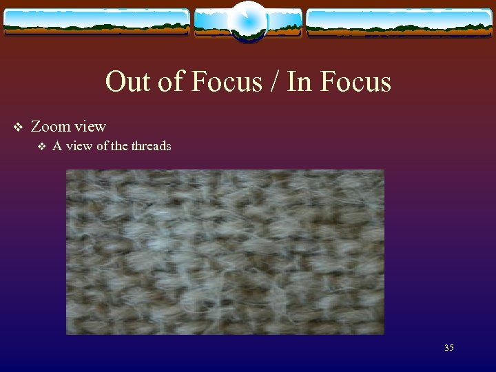 Out of Focus / In Focus v Zoom view v A view of the