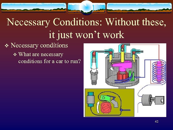 Necessary Conditions: Without these, it just won't work v Necessary conditions v What are