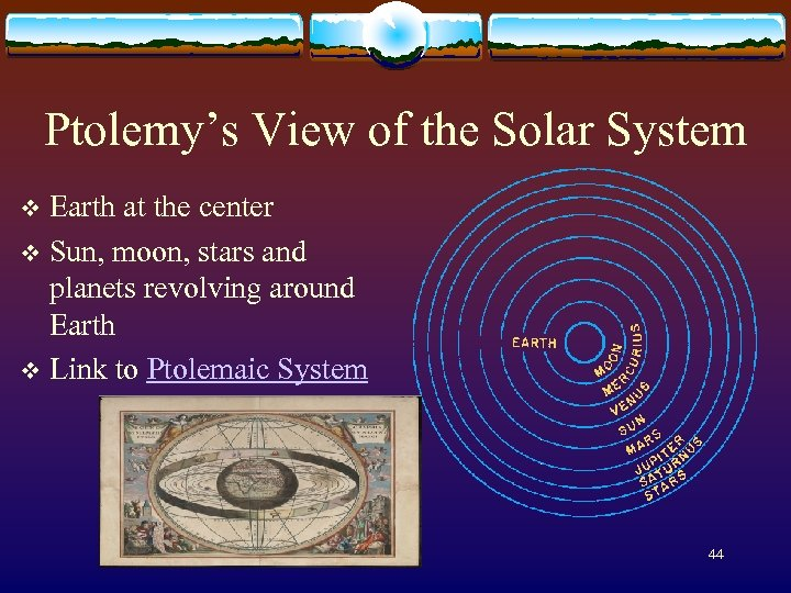 Ptolemy's View of the Solar System Earth at the center v Sun, moon, stars