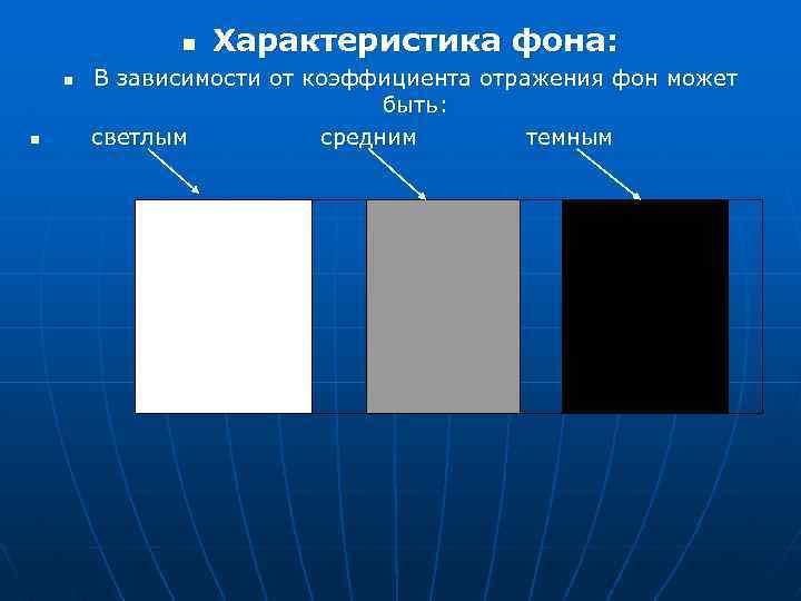 n n n Характеристика фона: В зависимости от коэффициента отражения фон может быть: светлым