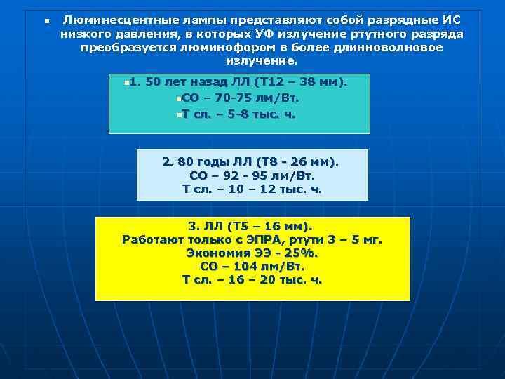 n Люминесцентные лампы представляют собой разрядные ИС низкого давления, в которых УФ излучение ртутного