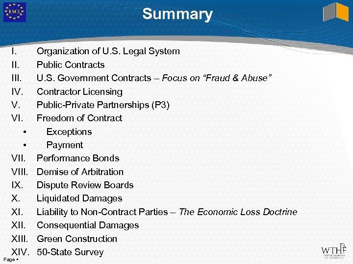 Summary I. III. IV. V. VI. • • VIII. IX. X. XIII. XIV. Page