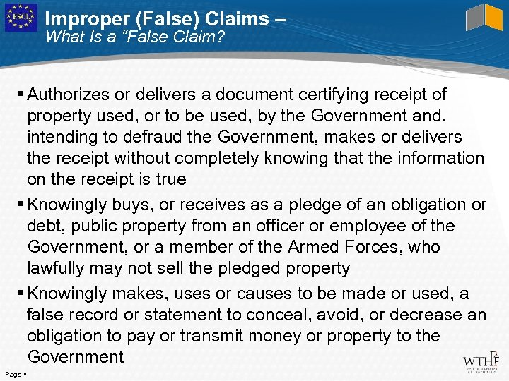 """Improper (False) Claims – What Is a """"False Claim? Authorizes or delivers a document"""