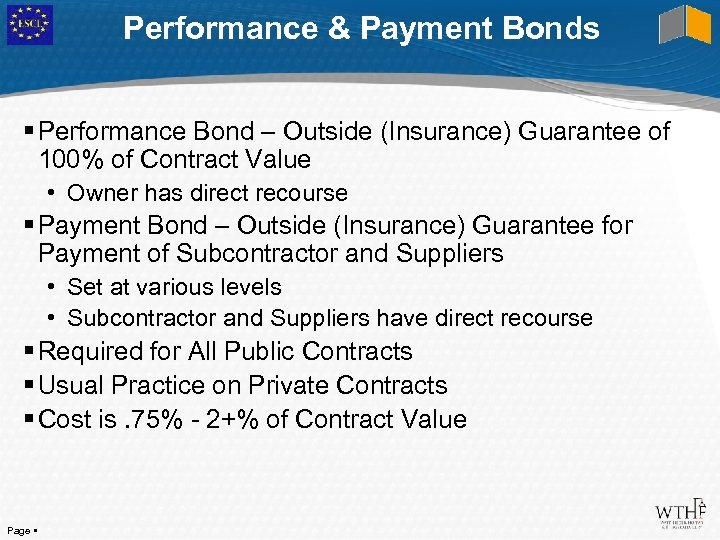 Performance & Payment Bonds Performance Bond – Outside (Insurance) Guarantee of 100% of Contract