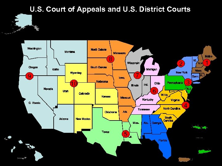 U. S. Court of Appeals and U. S. District Courts 8 1 2 7