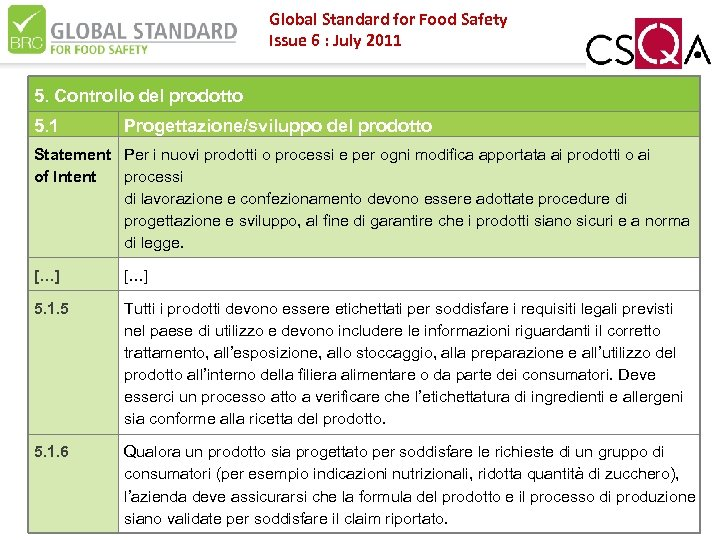 Global Standard for Food Safety Issue 6 : July 2011 5. Controllo del prodotto