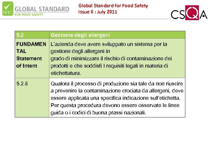 Global Standard for Food Safety Issue 6 : July 2011 5. 2 Gestione degli