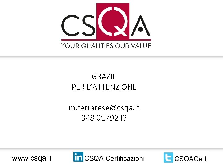 GRAZIE PER L'ATTENZIONE m. ferrarese@csqa. it 348 0179243 www. csqa. it