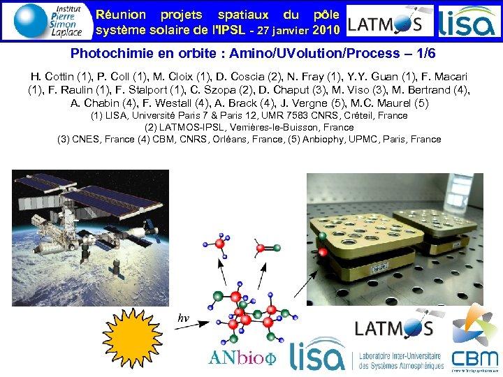 Réunion projets spatiaux du pôle système solaire de l'IPSL - 27 janvier 2010 Photochimie