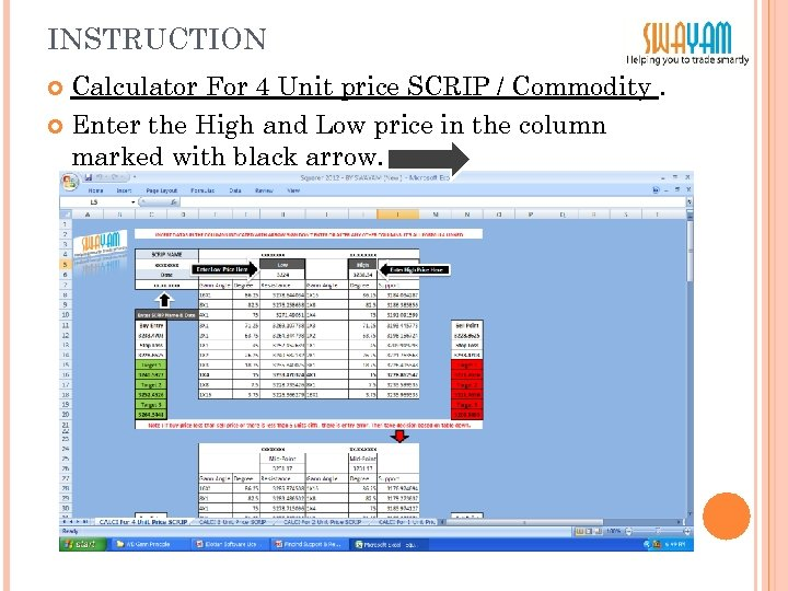 INSTRUCTION Calculator For 4 Unit price SCRIP / Commodity. Enter the High and Low