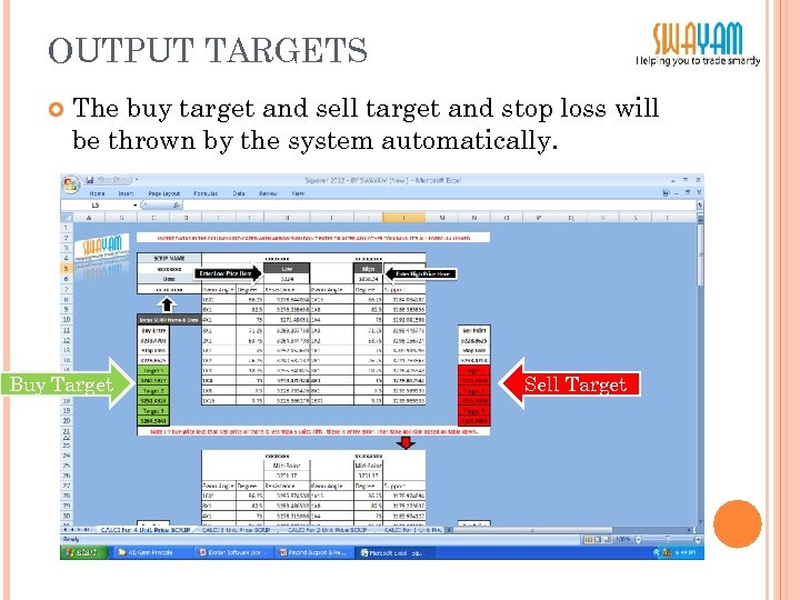 OUTPUT TARGETS The buy target and sell target and stop loss will be thrown