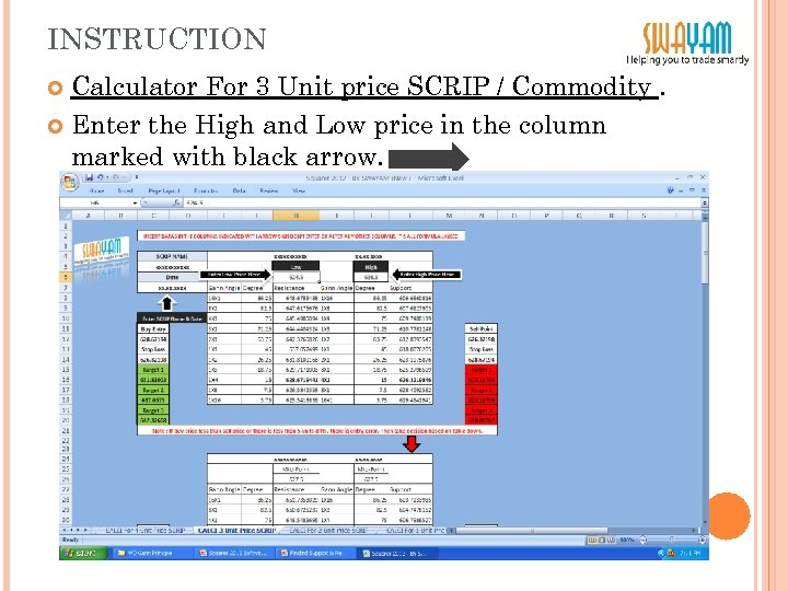 INSTRUCTION Calculator For 3 Unit price SCRIP / Commodity. Enter the High and Low