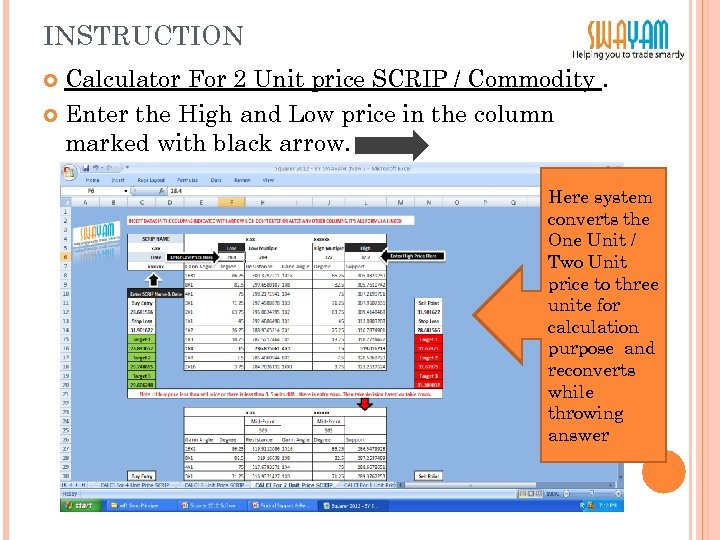 INSTRUCTION Calculator For 2 Unit price SCRIP / Commodity. Enter the High and Low