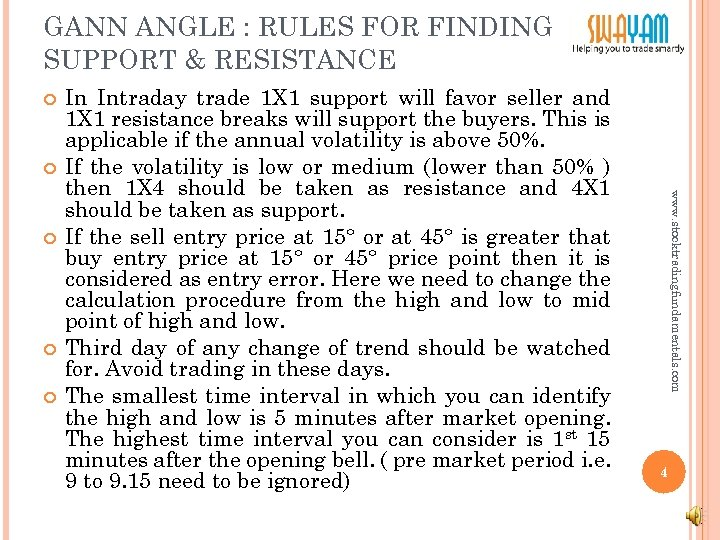 GANN ANGLE : RULES FOR FINDING SUPPORT & RESISTANCE www. stocktradingfundamentals. com In Intraday