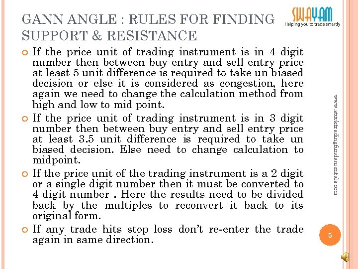 GANN ANGLE : RULES FOR FINDING SUPPORT & RESISTANCE www. stocktradingfundamentals. com If the