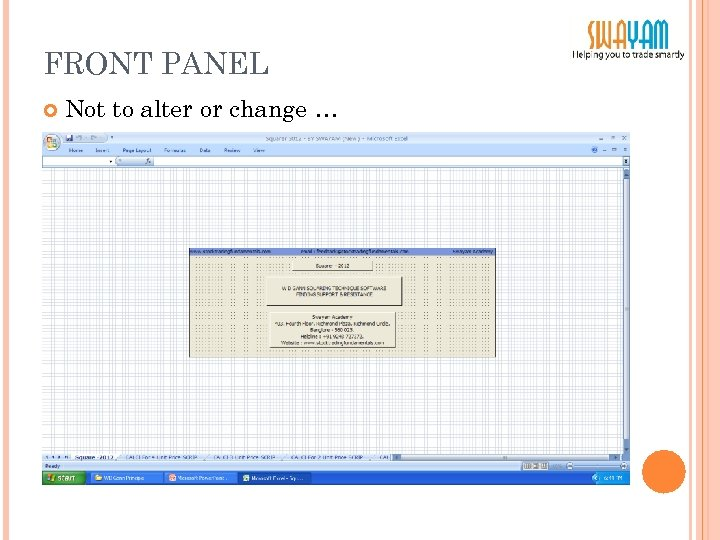 FRONT PANEL Not to alter or change …