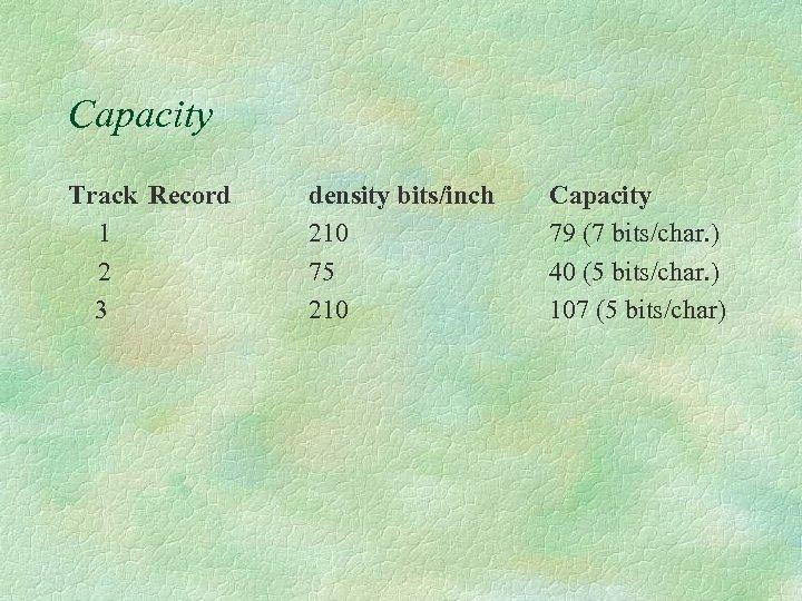 Capacity Track Record 1 2 3 density bits/inch 210 75 210 Capacity 79 (7