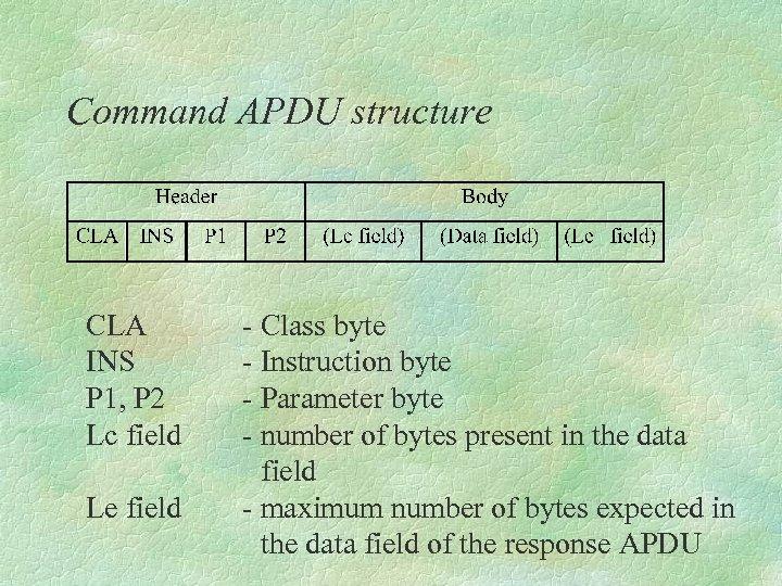 Command APDU structure CLA - Class byte INS - Instruction byte P 1, P