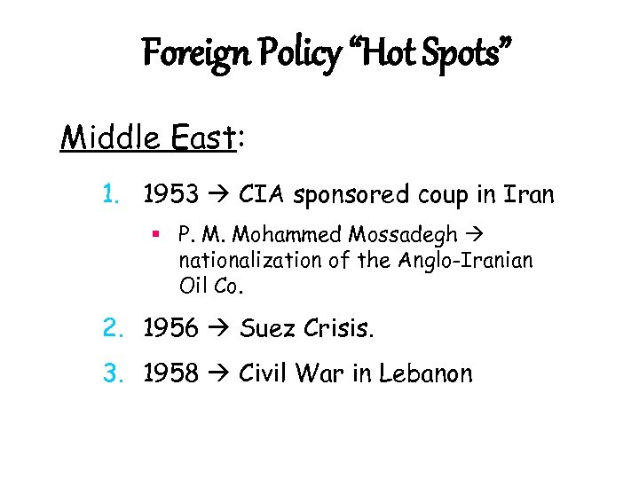"Foreign Policy ""Hot Spots"" Middle East: 1. 1953 CIA sponsored coup in Iran §"