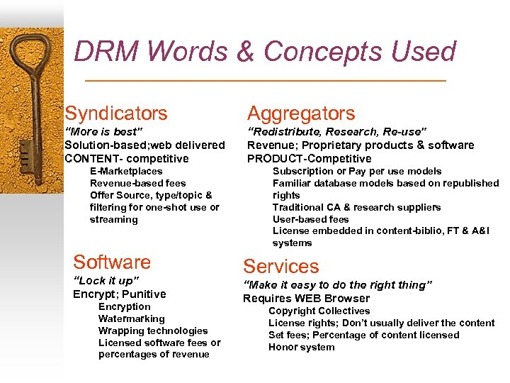 "DRM Words & Concepts Used Syndicators Aggregators ""More is best"" Solution-based; web delivered CONTENT-"