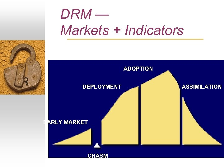DRM — Markets + Indicators ADOPTION DEPLOYMENT EARLY MARKET CHASM ASSIMILATION