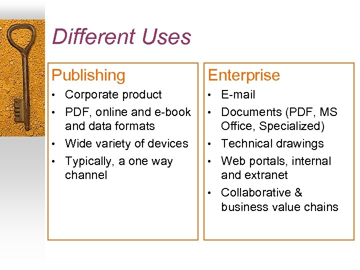 Different Uses Publishing Enterprise • Corporate product • E-mail • PDF, online and e-book