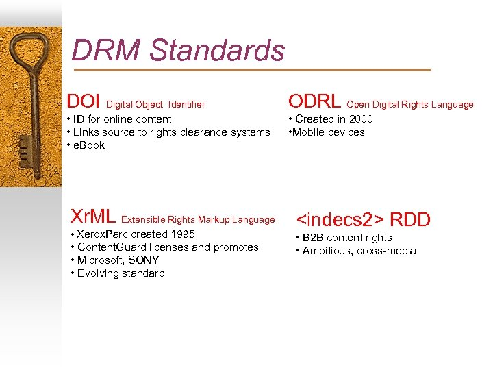 DRM Standards DOI Digital Object Identifier ODRL Open Digital Rights Language • ID for