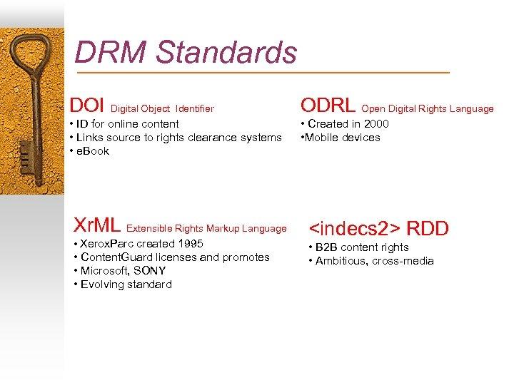 DRM Standards DOI Digital Object Identifier ODRL Open Digital Rights Language • ID for