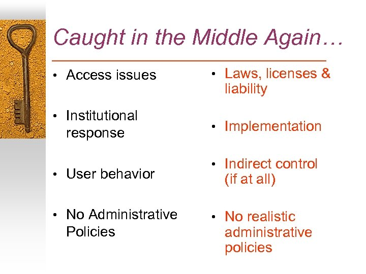 Caught in the Middle Again… • Access issues • Institutional response • User behavior