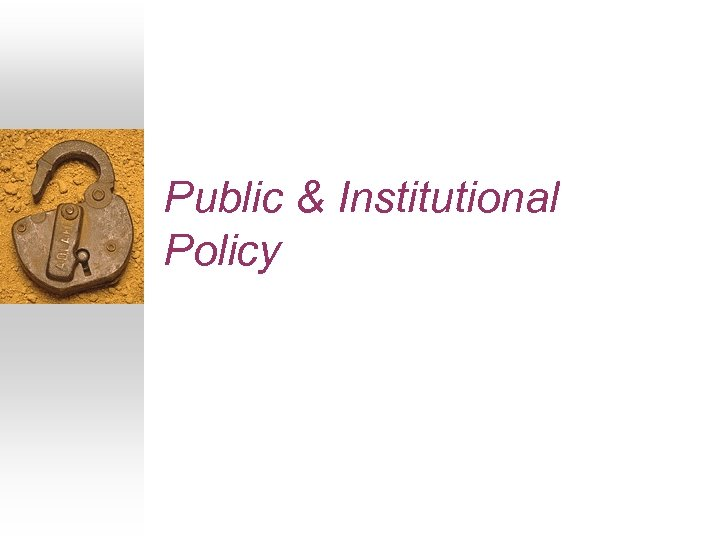 Public & Institutional Policy