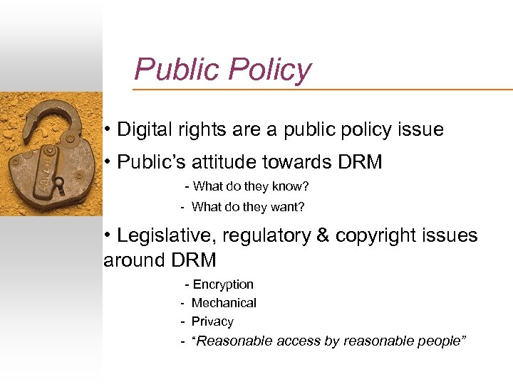 Public Policy • Digital rights are a public policy issue • Public's attitude towards