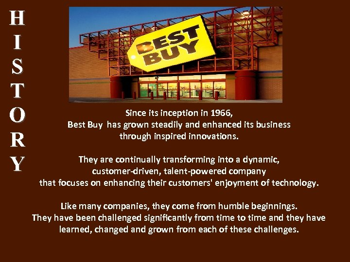 H I S T O R Y Since its inception in 1966, Best Buy