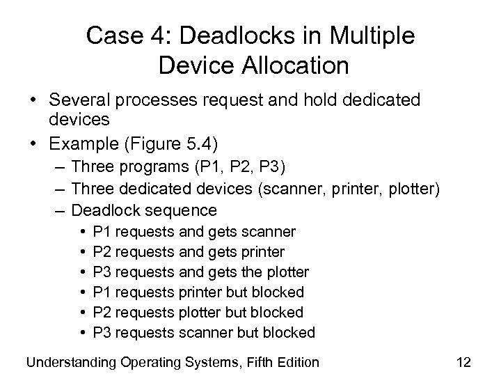 Case 4: Deadlocks in Multiple Device Allocation • Several processes request and hold dedicated