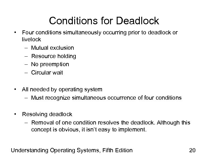 Conditions for Deadlock • Four conditions simultaneously occurring prior to deadlock or livelock –