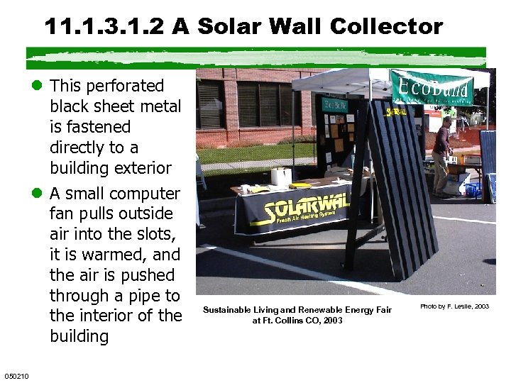 11. 1. 3. 1. 2 A Solar Wall Collector l This perforated black sheet