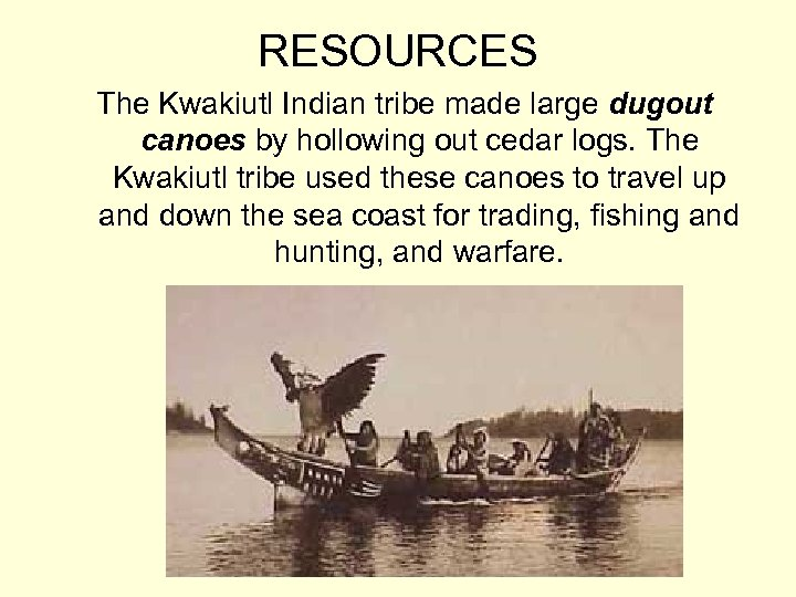 RESOURCES The Kwakiutl Indian tribe made large dugout canoes by hollowing out cedar logs.