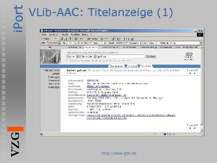 i. Port VZG VLib-AAC: Titelanzeige (1) http: //www. gbv. de