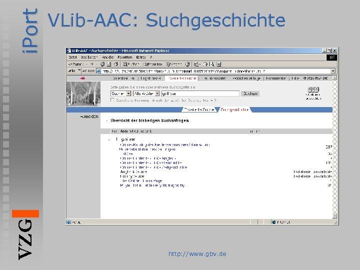 i. Port VZG VLib-AAC: Suchgeschichte http: //www. gbv. de