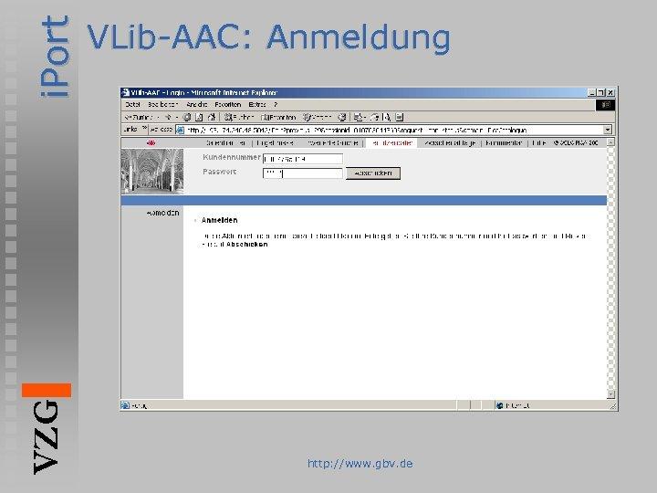 i. Port VZG VLib-AAC: Anmeldung http: //www. gbv. de