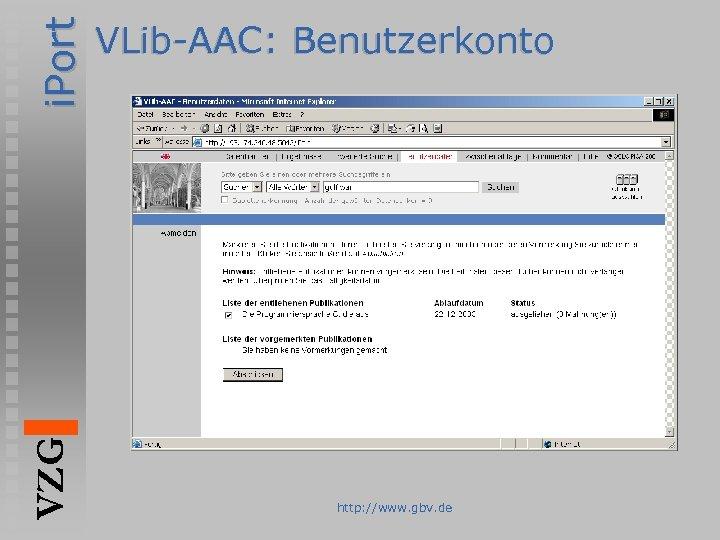 i. Port VZG VLib-AAC: Benutzerkonto http: //www. gbv. de