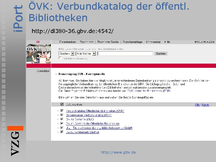 i. Port VZG ÖVK: Verbundkatalog der öffentl. Bibliotheken http: //dl 380 -36. gbv. de: